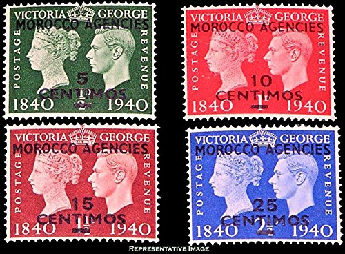 British Offices Morocco Scott 89-90 Great Britain 1/2d Overprinted Morocco Agencies 5 Centimos, 1d Overprinted Morocco Agencies 10 Centimos, 1 1/2d Overprinted Morocco Agencies 15 Centimos and 2 1/2d