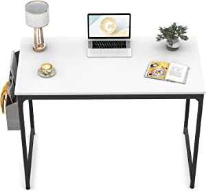"CubiCubi Computer Desk 40"" Study Writing Table for Home Office, Modern Simple Style PC Desk, Black Metal Frame, White"