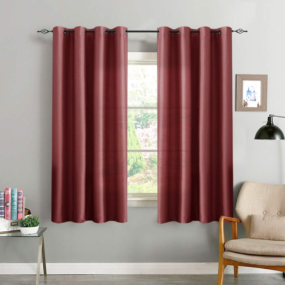 85407b30088 Faux Silk Curtains for Living Room 63 inches Long Satin Grommet Window  Curtain Panels for Bedroom Dupioni Light Filtering Privacy Window  Treatments