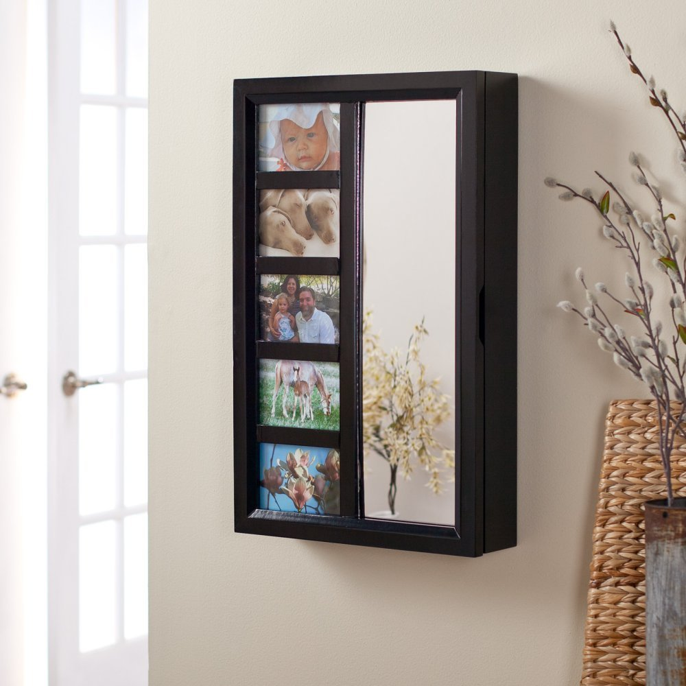 Mirrored Jewelry Cabinet Armoire Amazoncom Photo Frames Wall Mount Jewelry Armoire Mirror High
