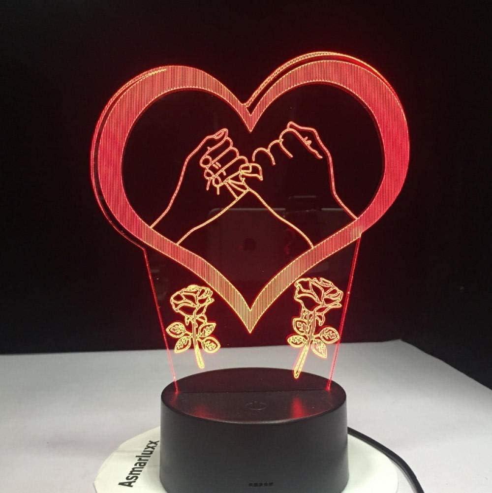 De la mano Pinky Swear Promise Love Heart Lámpara LED 3D 7 luces de noche cambiadas de color Lámpara de mesa para niños Regalo de Navidad Regalo de amor