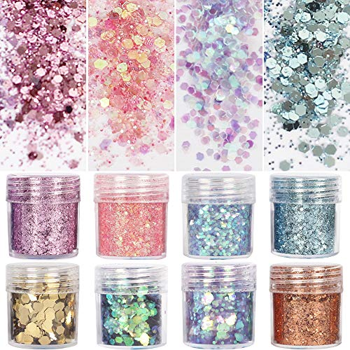(8 Boxes Unicorn Chunky Glitter, Holographic Cosmetic Festival Chunky Glitter, Ultra-thin Nail Glitter Sequins Iridescent Flakes Sparkles for Face Body Hair)