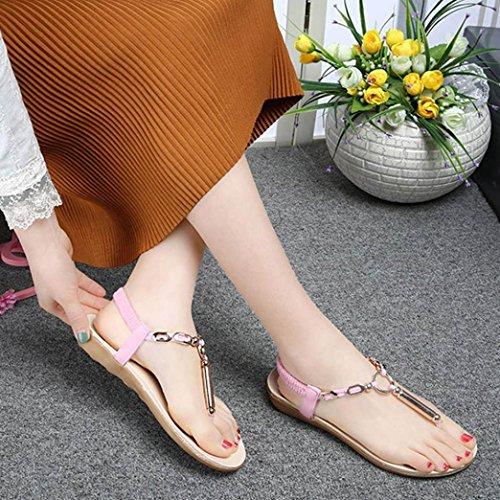 Fullkang Femmes Élastique Strappy String Lanière Cheville Sandales Dété Rose