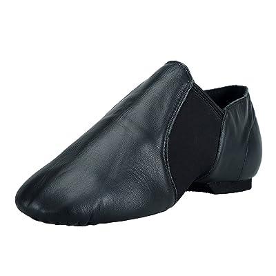 Women Premium Leather Jazz Shoe Neoprene Elastic Slip-on Jazz Shoes   Ballet & Dance