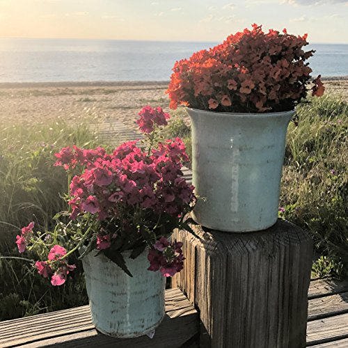 The Beach Chic Planters, Set of 2 , Pale Aqua Marine Glaze, Artisinal Rustic Crackle Finish, Distressed Stoneware, Bottom Pads, 6 and 7 Inches Tall, by Whole House (Aquamarine Crackle)