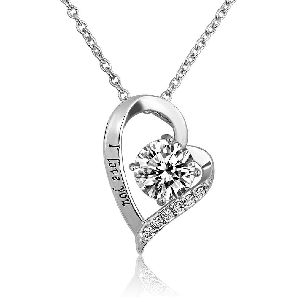 DemiJewelry I Love You Heart Pendant Necklace for Mom Wife Girlfriend Daughter