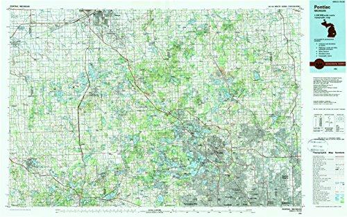 Pontiac Mi Topo Map  1 100000 Scale  30 X 60 Minute  Historical  1985  Updated 1989  24 1 X 38 4 In   Tyvek