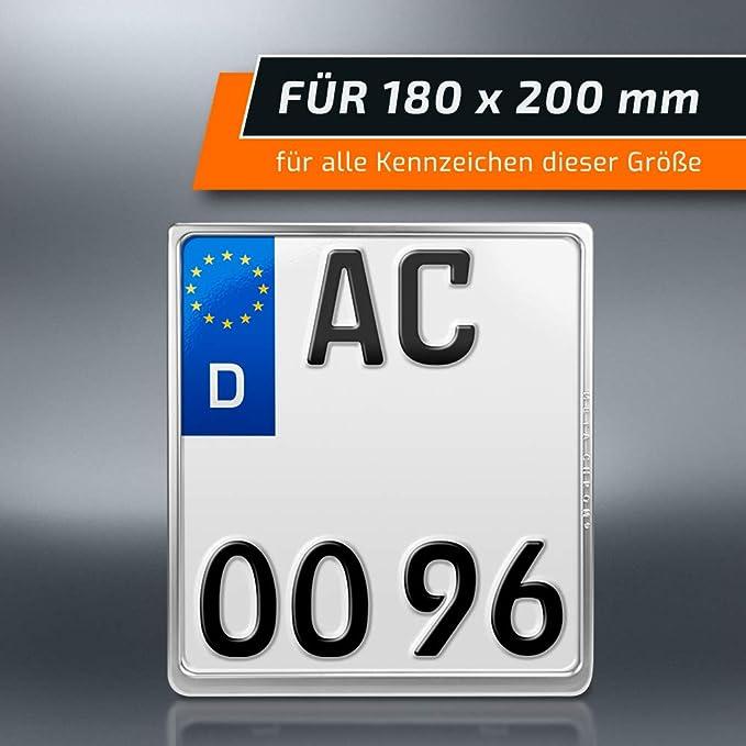 Schildevo Kennzeichenhalter 180 X 200 Mm Matt Chrom Echt Verchromt Motorrad Mc Dhl Versand Auto