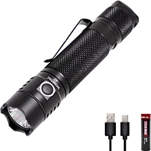 WOWTAC A7 Tactical Flashlight,USB Rechargeable Flashlight with Tail Switch Waterproof Handheld LED Flashlight 1047 High Lumens for Camping(18650 Battery Included)-NW