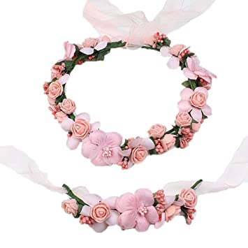 Amazon.com   MLQM Boho Handmade Flower Crown Wedding Hair Wreath Floral  Headband Garland Wrist Band Set-peach   Beauty f9b9fde09cf