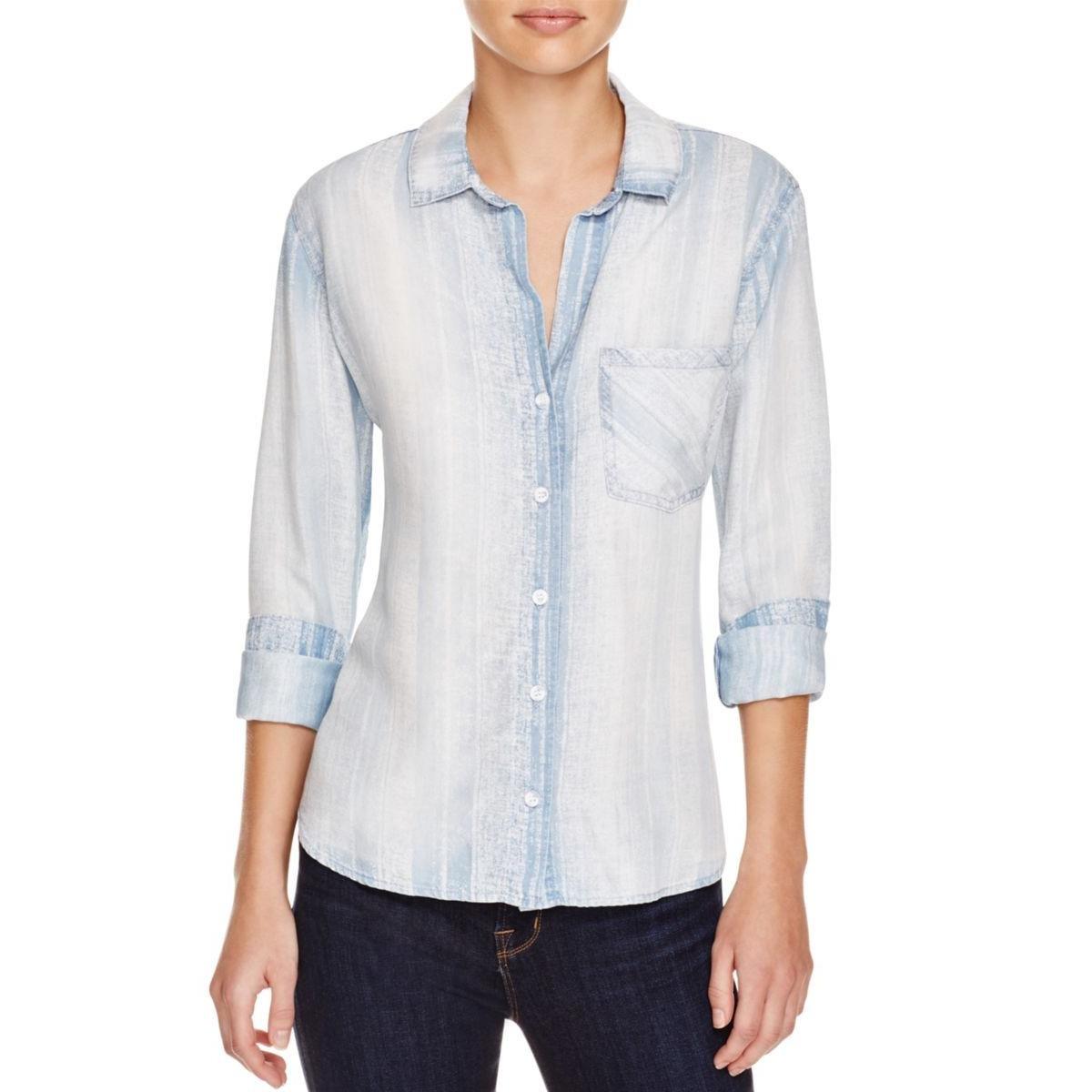 Bella Dahl Womens Printed Long Sleeves Button-Down Top Blue L