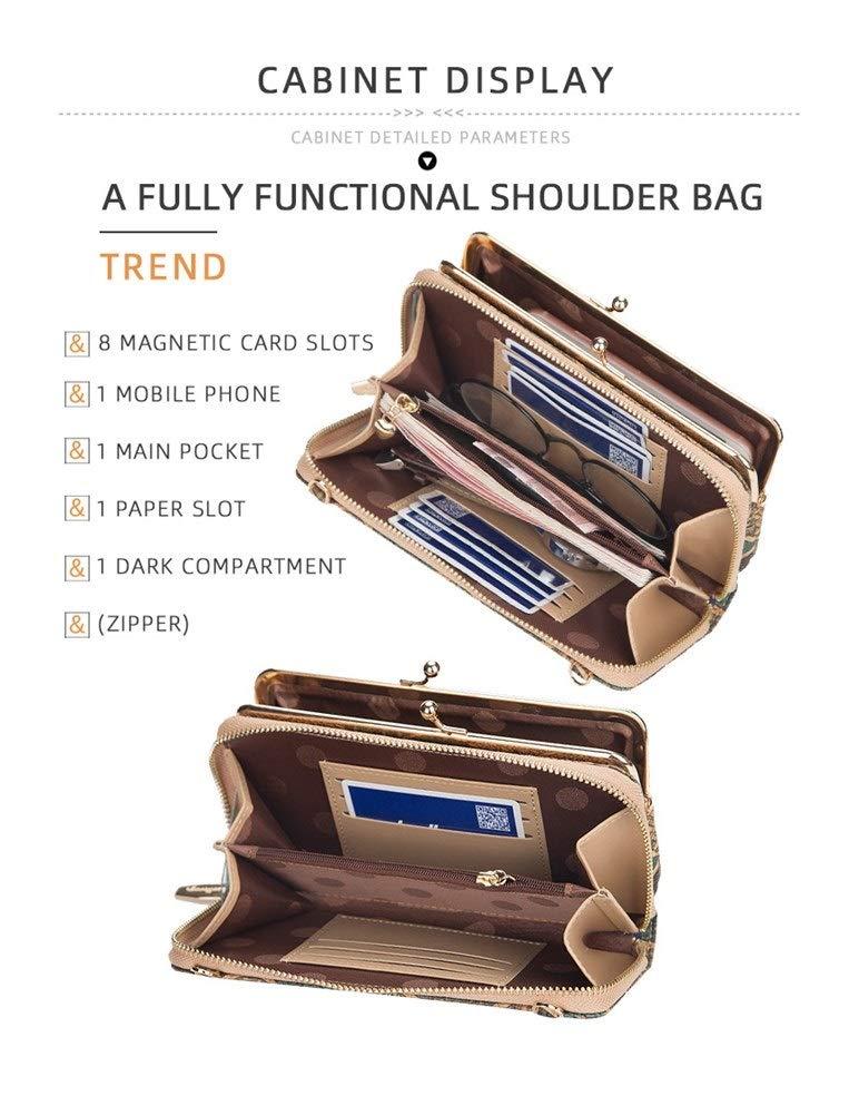 Axelväska för kvinnor liten mode trendigt utsökt mönster mobiltelefonväska plånbok (färg: B7) B3