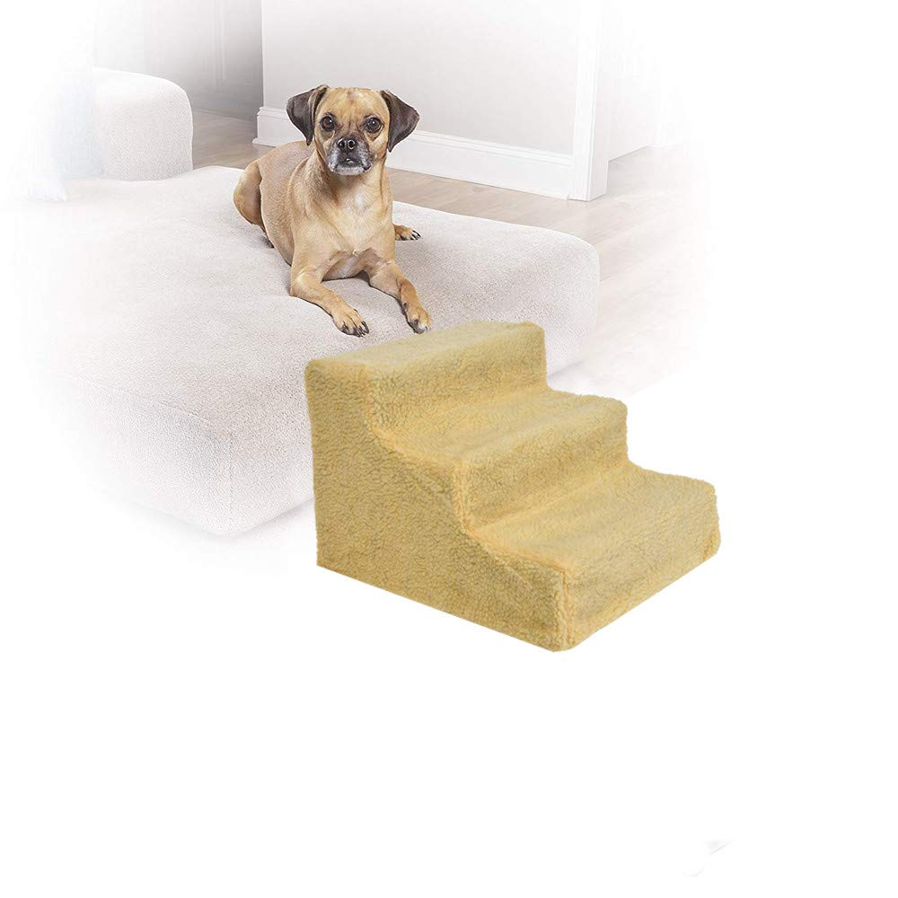 Chezaa Pet Stairs 3 Step Pets Ramp Cat Dog Ladder with Washable Cover,Durable Foldable Metal Frame,Suitable for Small or Medium Pets- Ship from USA (Beige)