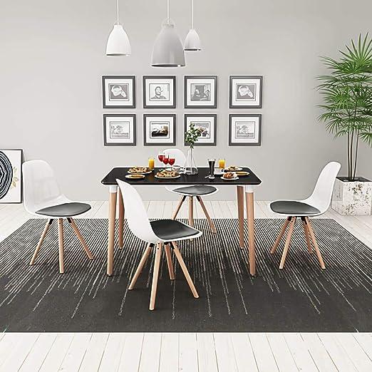 FAMIROSA Conjunto de Mesa de Comedor y sillas 5 Piezas Negro y ...