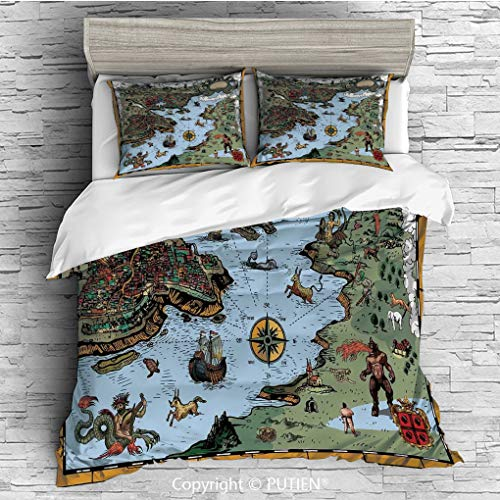 TWIN Size Cute 3 Piece Duvet Cover Sets Bedding Set Collection [ Compass Decor,Antique Map with Rivers and Land Full of Monsters Pirates Giant Creatures Fantasy Art,Olive Blue ] Comforter Cover Set fo