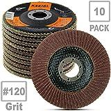 KSEIBI Aluminum Oxide 4 1/2 Inch Auto Body Flap Disc Sanding Grinding Wheel 10 Pack (120 Grit)