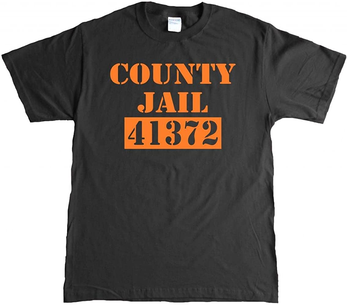 a4366329eb57 Amazon.com: County Jail Funny Halloween Fugitive prisoner Adult T-shirt -  Small-Black/Orange: Clothing