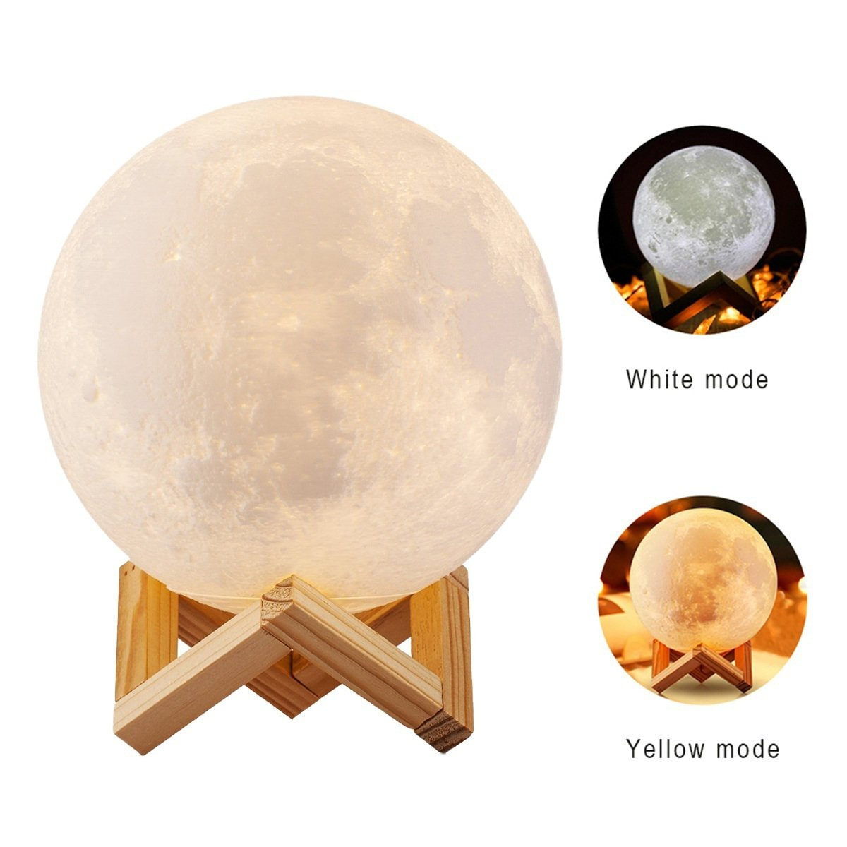 5.9 inch 3D Moon Lamp, USB LED Night Light Magical Lunar Table Lamp Moonlight Gift with Wooden Holder & Gift Box for Kids Gifts