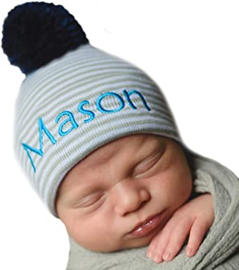 Light Blue Newborn Monogrammed Hat Navy Pink or Mint Personalized Baby Cap White Boy or Girl Grey
