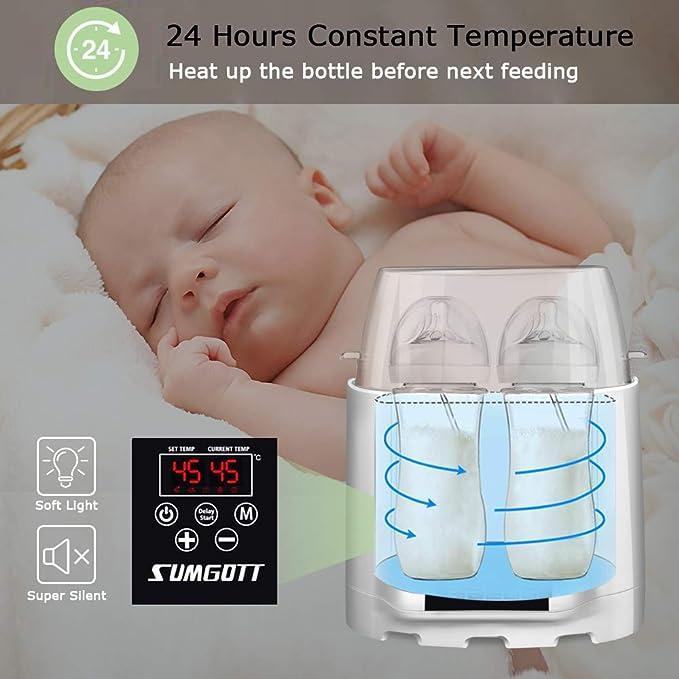 Double Bottles Design Smart Thermostat 5-En-1 R/éChauffeur Avec LAffichage En Temps R/éEl De LCD Sumgott St/érilisateur De Bouteille//Chauffe-Aliments Chauffe Biberon avec Fonction de chronom/étrage