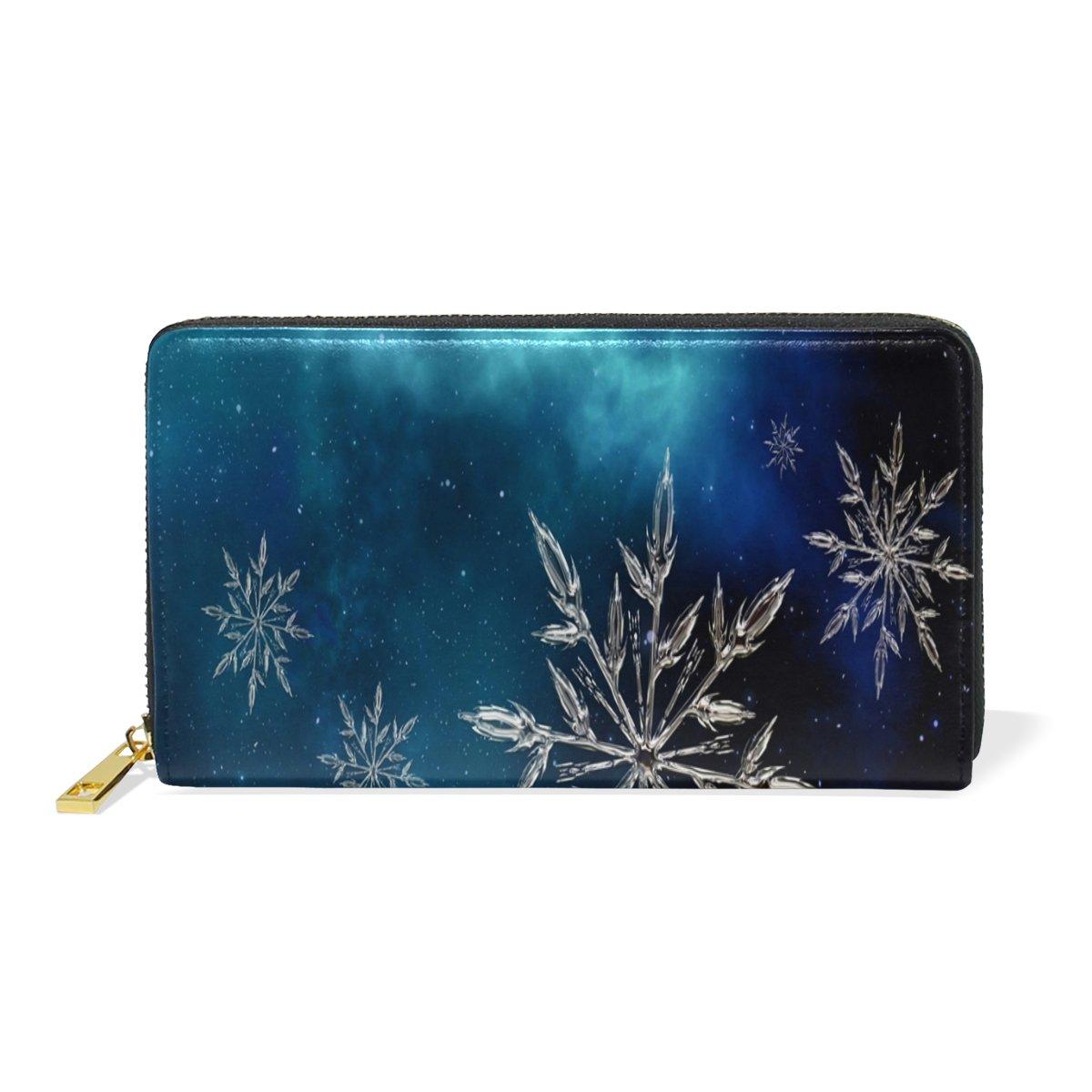 Women Genuine Leather Wallet Beauty Snowflake Zipper Purse Girl Phone Clutch