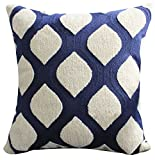 LivebyCare Heavy Embroidery Geometric Pattern Stuffed Throw Pillow PP Cotton Insert 18x18 Inch Back Waist Cushion Zipper for Decorative Bed Sofa Couch Thanksgiving