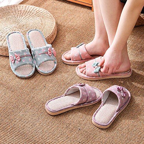 Maison de Chaussons Pantoufles Pantoufles Violet Lin Femme Chaussons Intérieur Chaussons Anti Familles Vdual Glissante Lavable Hommes Sandale Couples wqOf6f