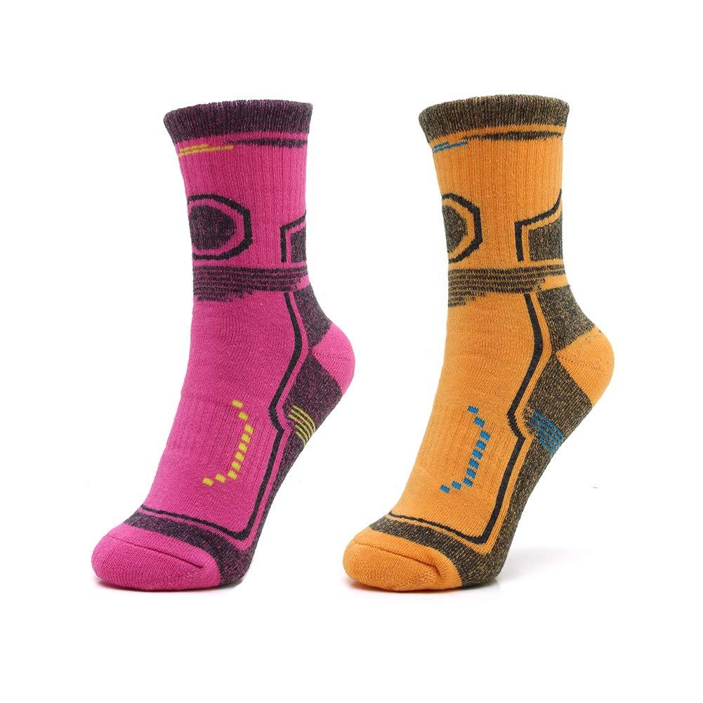 ANSUG 2 Pares de Correr Calcetines de Senderismo para Hombre, Espesar Calcetines de tripulación Acolchados Calcetines Pro Athletic para Correr Ciclismo Camping Esquí (Reino Unido 6-11, EU 39-43)