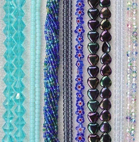 - I love Blue Shades Czech Millefiori Glass Assorted Color Bulk Assortment Beads