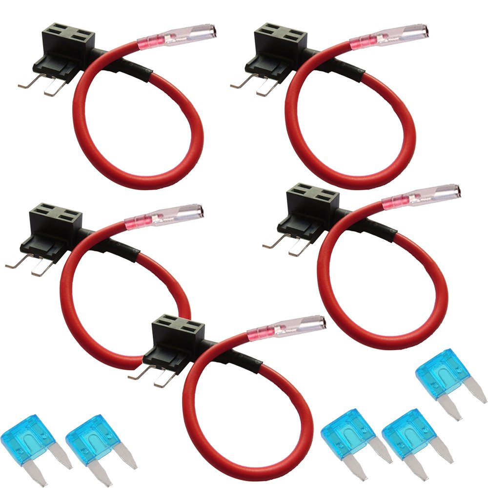 E Support 12v 24v Atm Apm Add A Circuit Fuse Tap Piggy Mini Blade Holder 1 X Free Back Style Plug Pack Of 5 Automotive