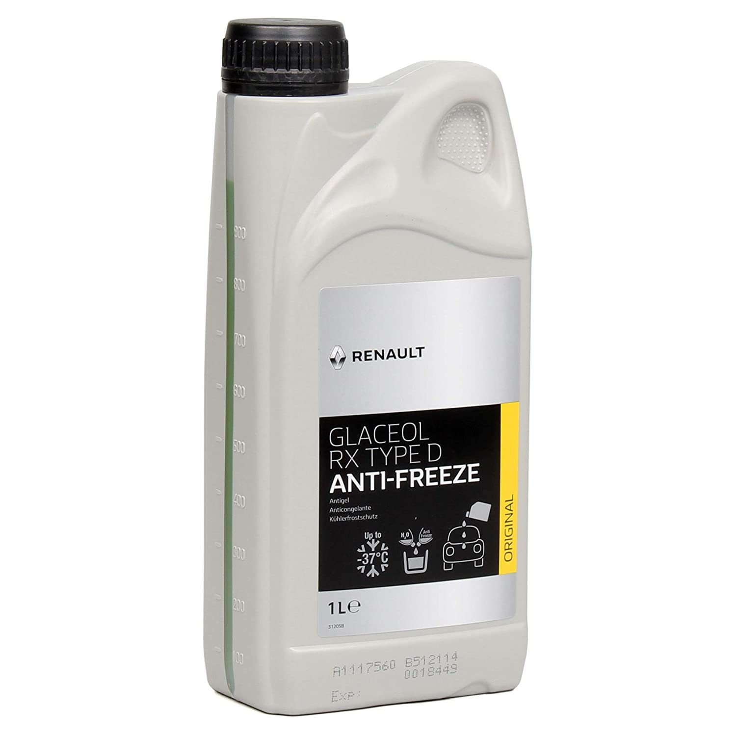 Renault frost protection radiator antifreeze, 1 litre glaceol RX type D green