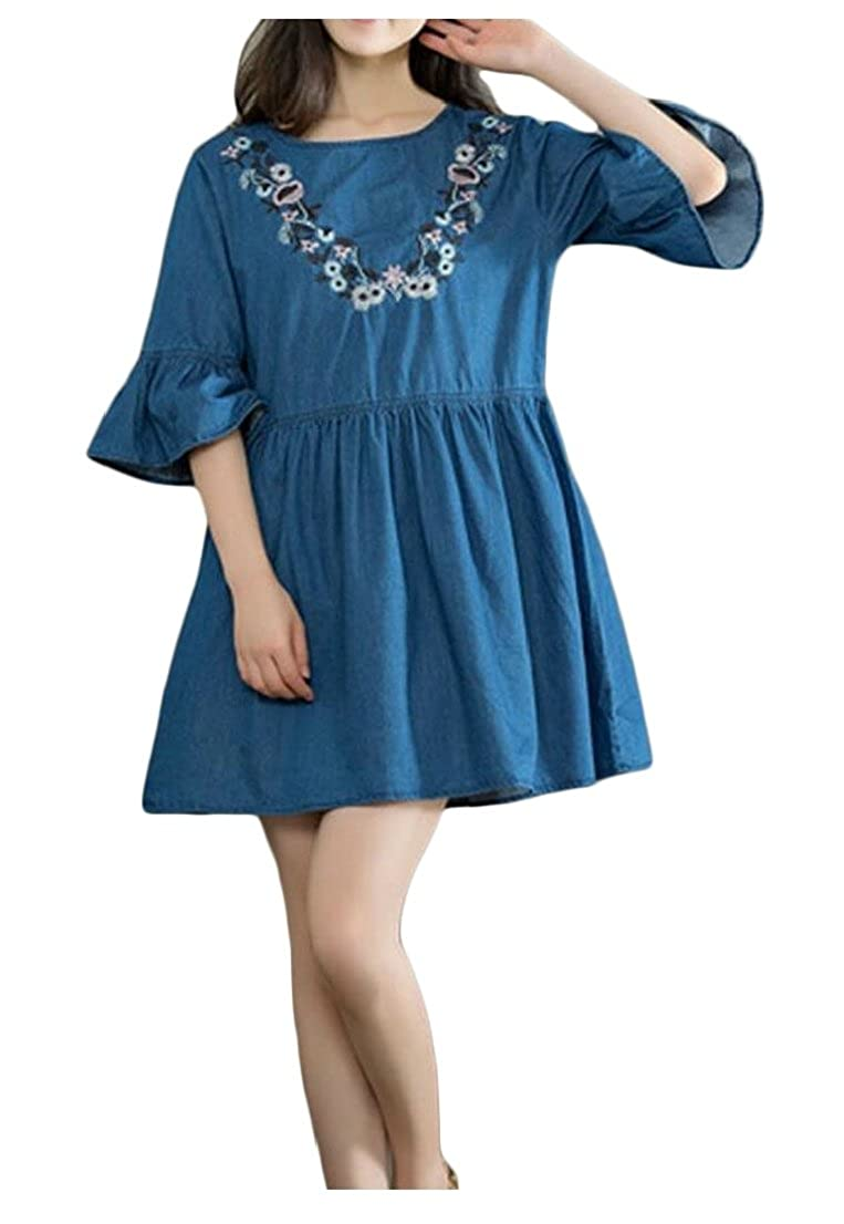 Generic Womens Summer Ruffle Half Sleeve Loose Embroidery Mini Dress