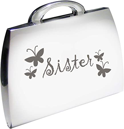 Silver Finish Engraved Sister Handbag Compact Mirror With Butterflies Great Gifts Idea For Birthday Gift Christmas Presents Amazon Co Uk Kitchen Home