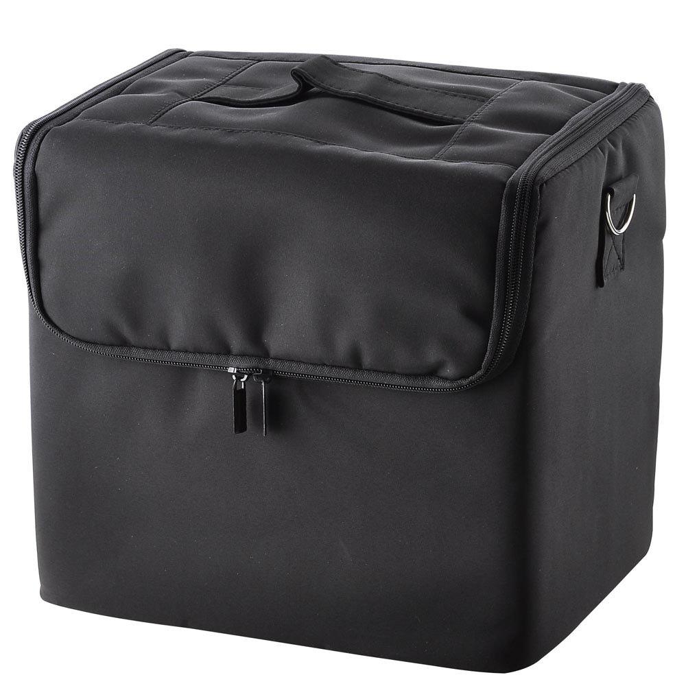 6376126ac09e Amazon.com : Portable Cosmetic Soft Makeup Train Case Oxford Black ...