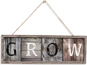 Rustic Grow Wood Wall Art Sign G R O W Hanging Plank Design Painting Vintage Slat Wall Board Decorations Friends Gifts 16 x 5.5 inches