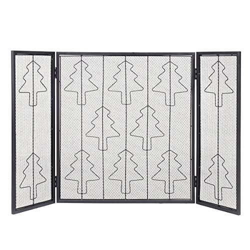Costzon Fireplace Screens Decorative Christmas Tree 3 Foldable Panels Stainless Steel Baby Safe Fence Fireplace Spark Guard