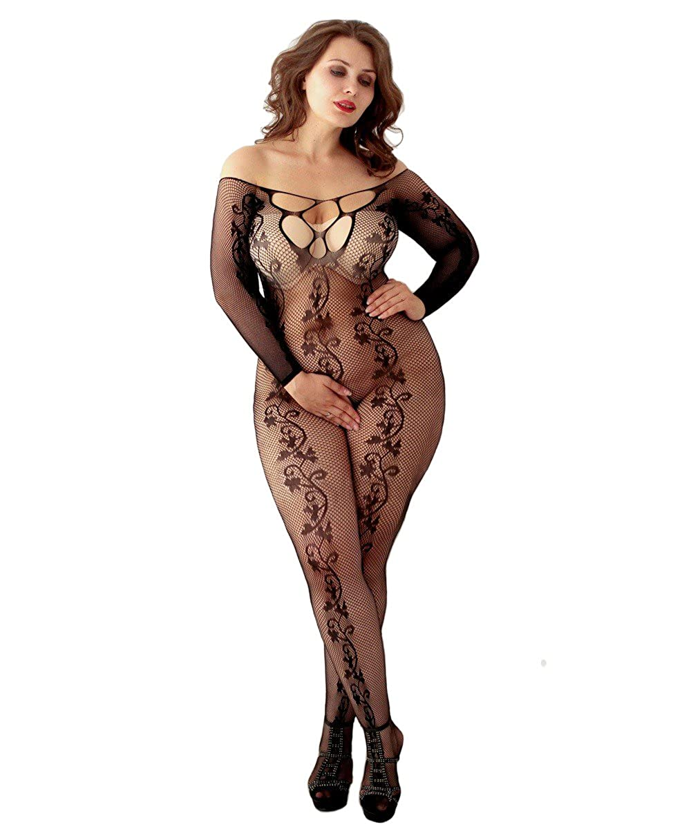 Curbigals Women's Long Sleeves Crotchless Bodystocking Plus Size Open Crotch Fishnet Lingerie Plus)