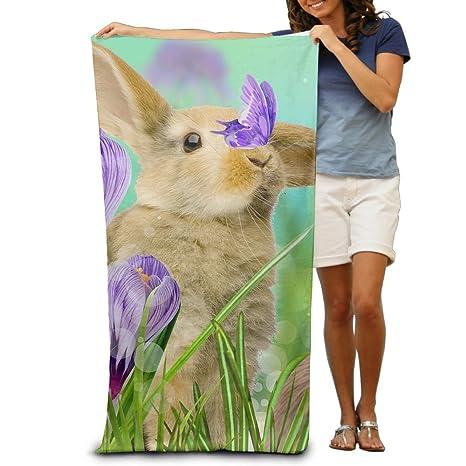 Nicokee - Toalla de baño con diseño de conejo en la flor, muy suave y