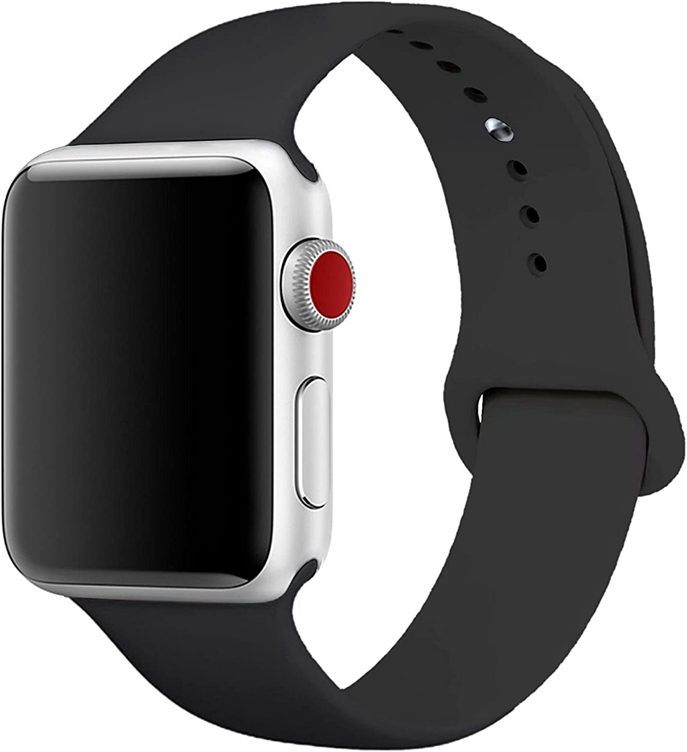 Aimote Sport Band for iWatch 38mm 42mm 40mm 44mm, Soft Silicone Strap Replacement for Watch Series 5 4 /3/2/1 Nike+ Sport Edition, S/M M/L Size, 38/40/42/44mm for men women