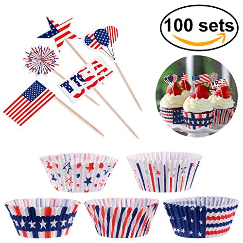 BESTOMZ 4th of July Party Supplies Cupcake Toppers with Liners Decoration Kit, 200 Pieces