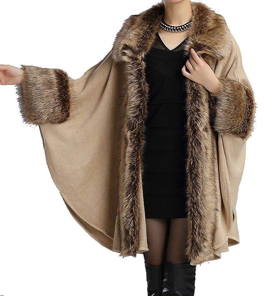 6db00eda137e1 Helan Women s Luxury Style Faux Fur Cloak Cape Coat Shawl Beige at Amazon  Women s Coats Shop