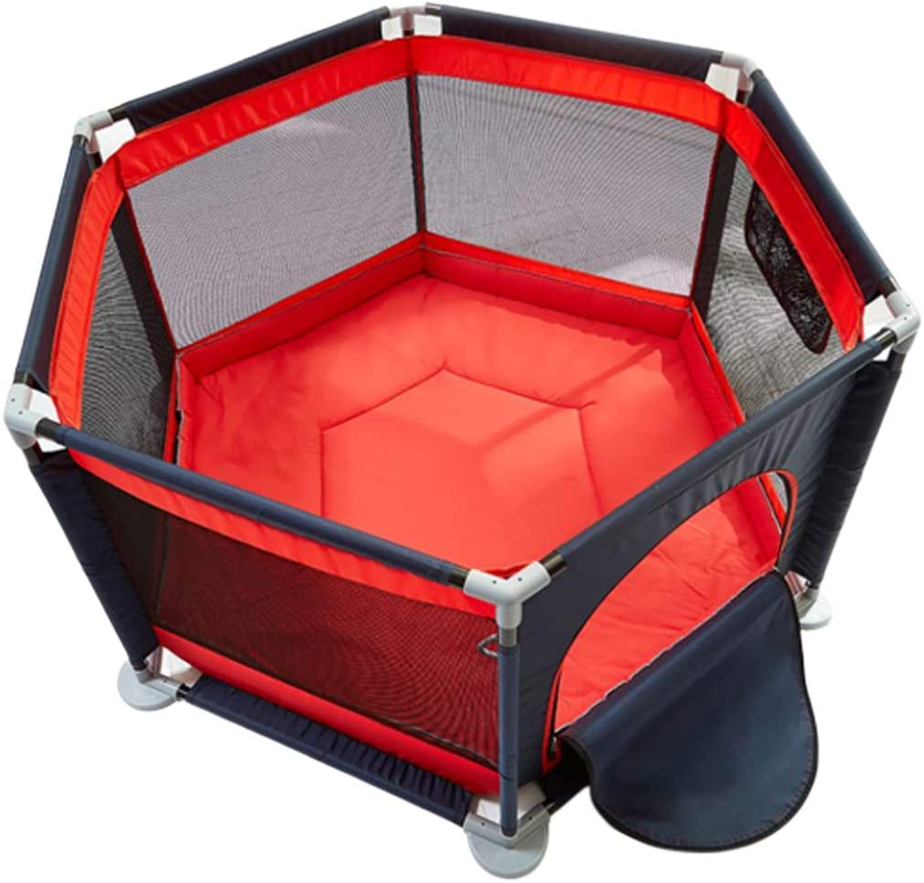 Baby Playpen Safety Height Playyard Tents Infant Fence Kids Activity Centre with Zippered Storage Bag (Red Cyan)