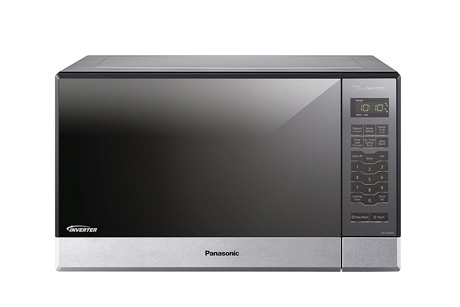 Microwave Oven Compact Countertop Panasonic Electric Stainless Steel 1200 Watt 1.2 cu. ft. Inverter Cookware With Free Pot Holders