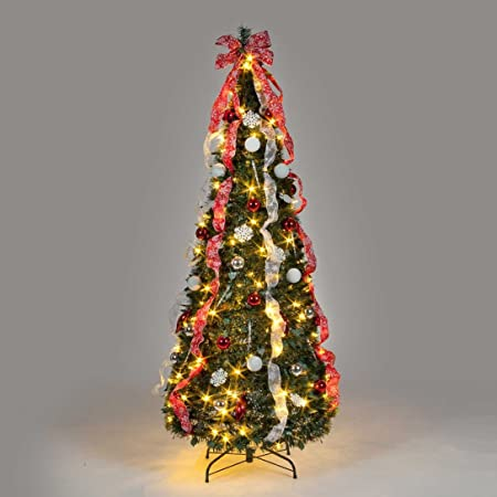 6ft Pre Lit Pop Up Decorated Led Christmas Tree