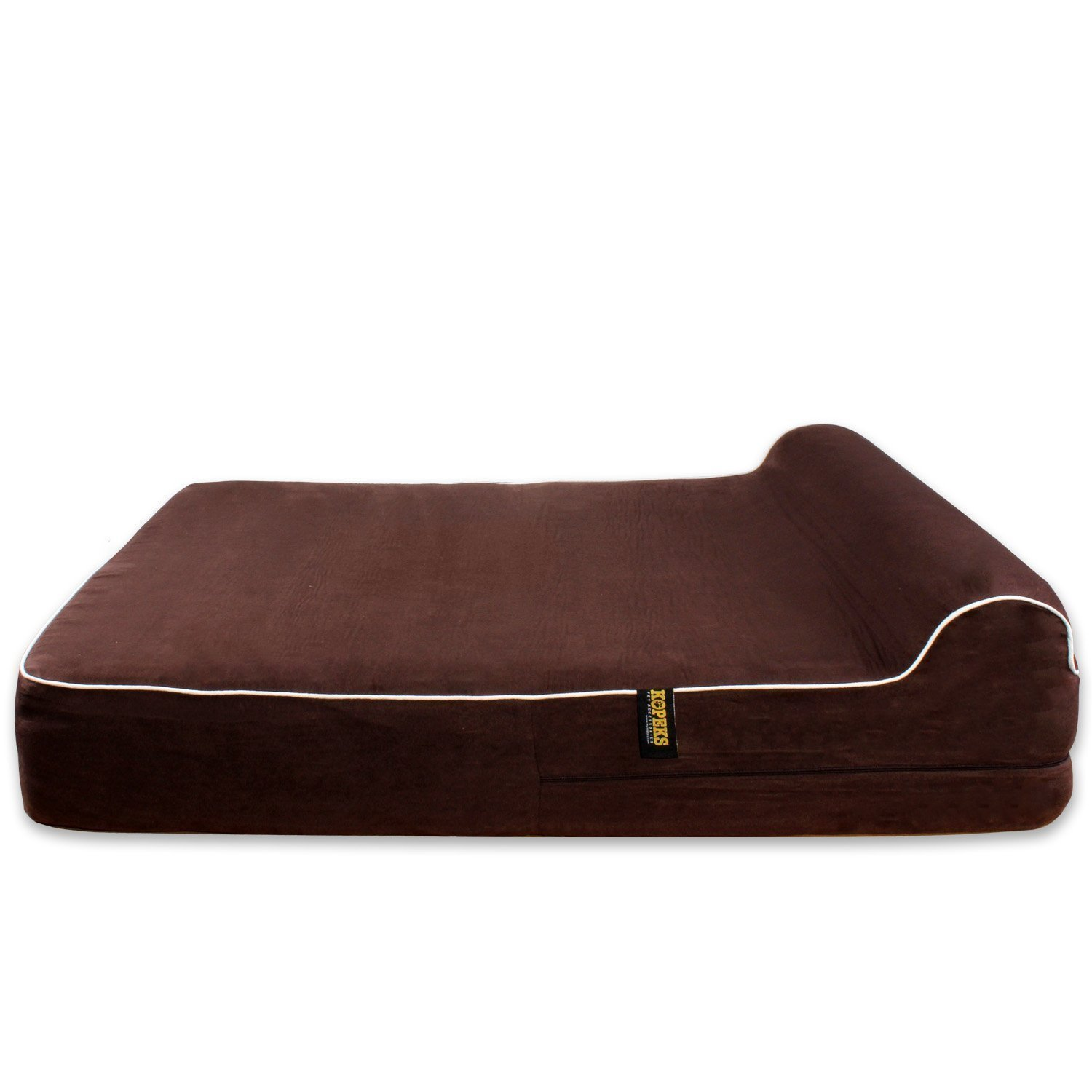 KOPEKS Dog Bed Replacement Cover (ONLY) Memory Foam Beds - Brown - Large
