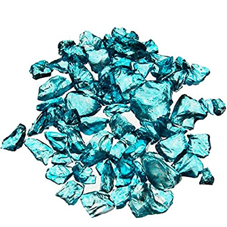 CYS Excel Crushed Gravel Bag of Colored Glass Substrate Vase Filler, 1 lb, Sky Blue GGM013LB
