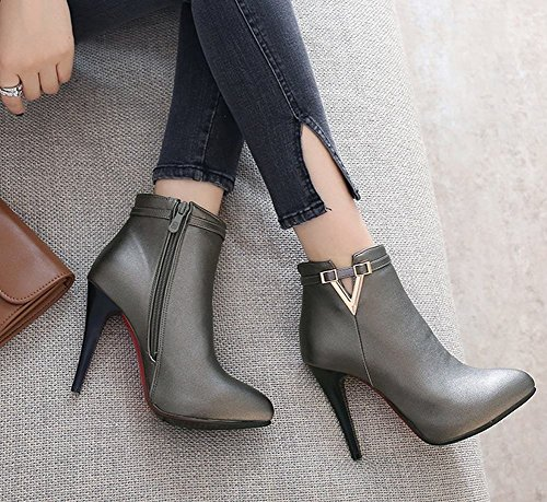 Heels Womens Boots Ankle High toe Pointed Latasa Grey Dark Hq6dIRO