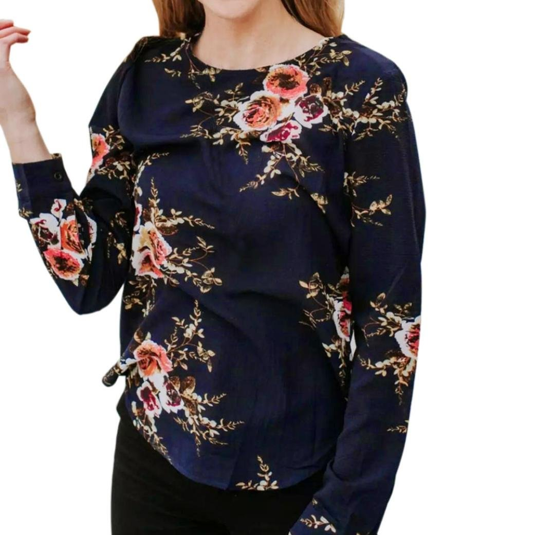 Spbamboo Women Lady Sexy Casual Floral Printing T-shirt Long Sleeve Tops Blouse by Spbamboo
