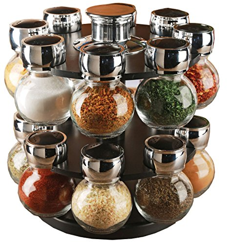 Palais Glassware Tournant Collection, Revolving Countertop Carousel Herb and Spice Rack with 3 Oz Glass Jars (Set of 16 Jars) ()