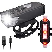 Tomshin Conjunto de faróis de bicicleta USB recarregável para bicicleta e luz traseira Farol dianteiro e traseiro para…